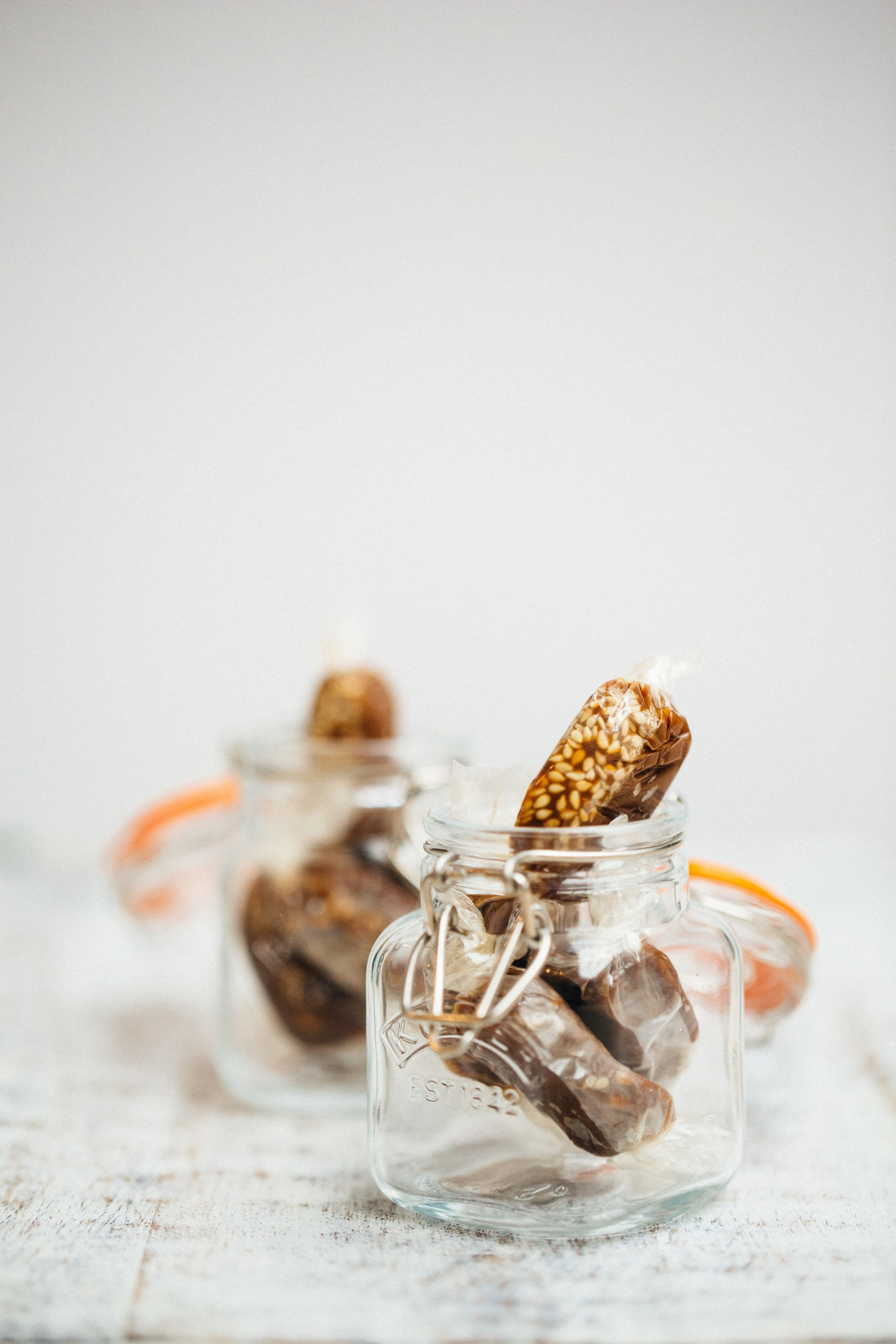 Sesame treats in jars