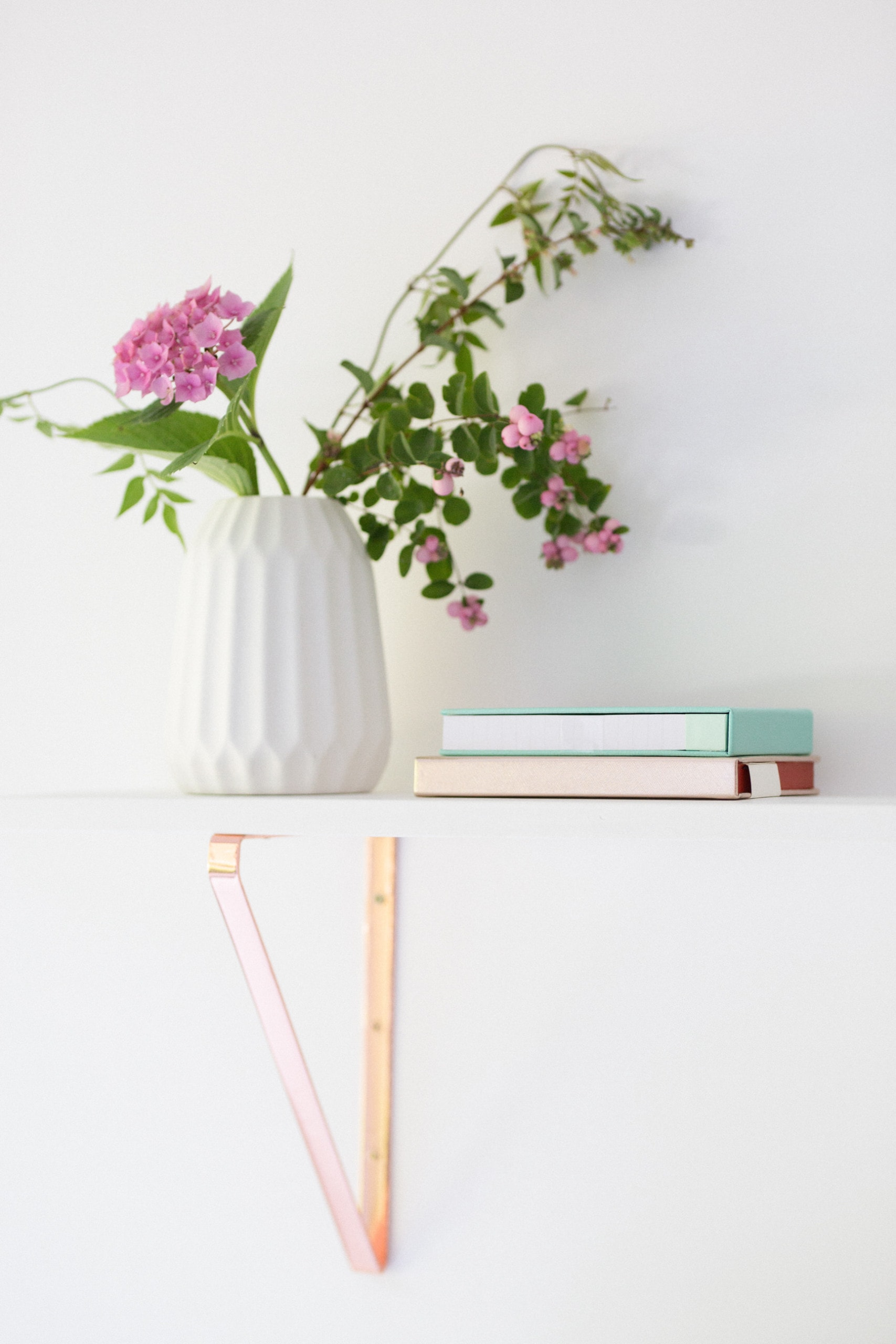 shelf vase notebook office home work interior design home