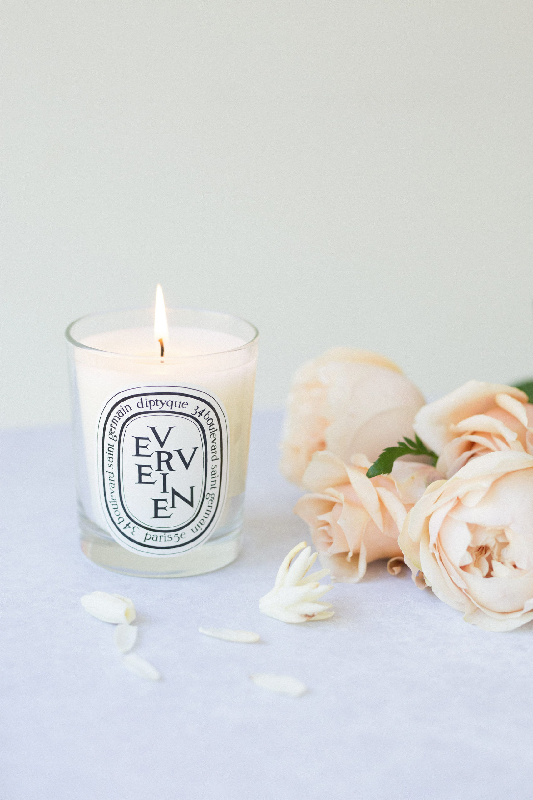 candles and roses styled stock photography