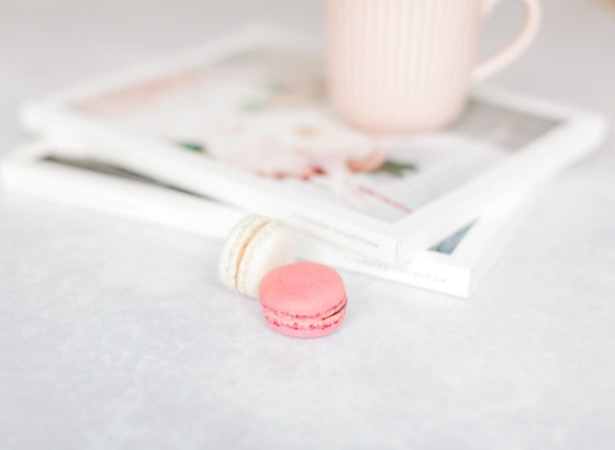 magazines cup of tea macaron relax down time