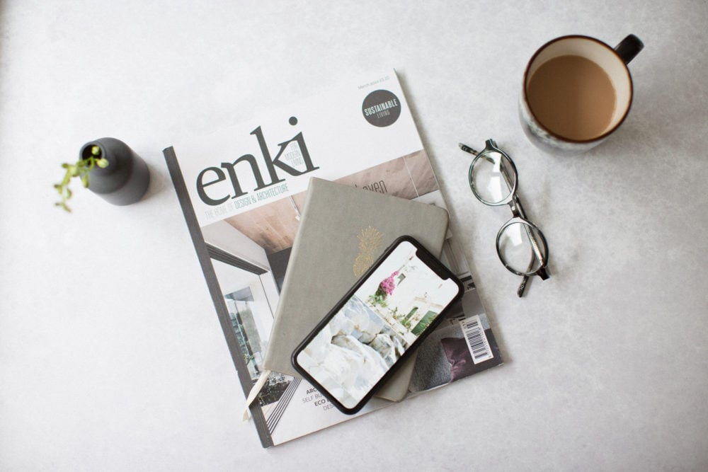 Magazine and cup of tea