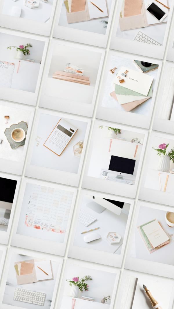 feminine workspace stock photos