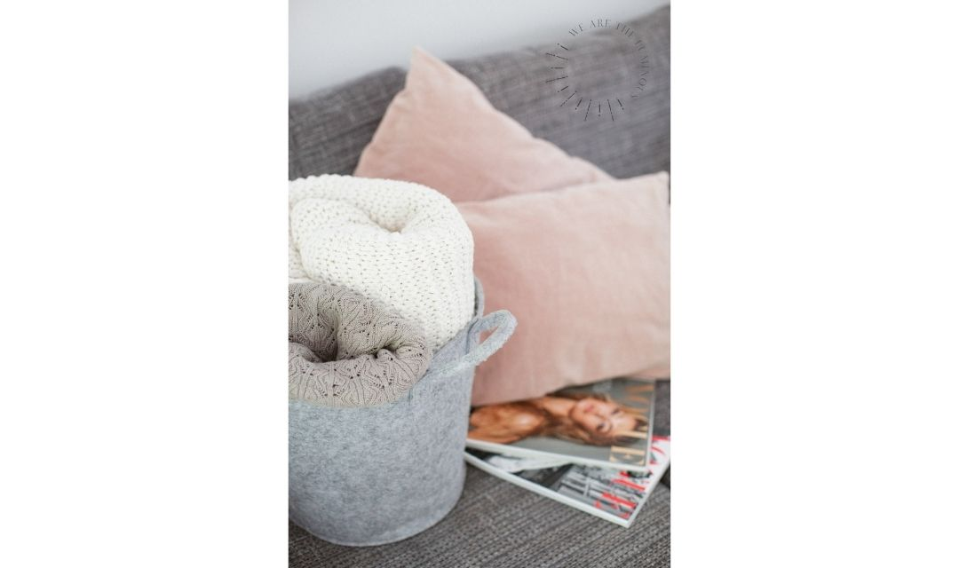 blankets and magazines stock photo