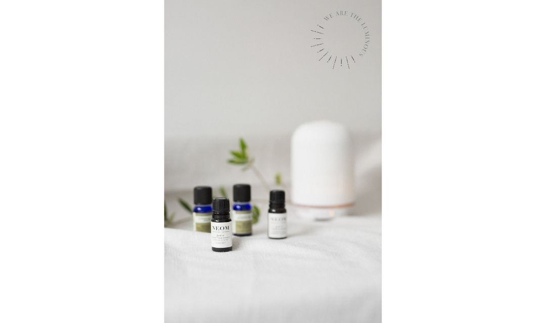 essential oil bottles stock photo