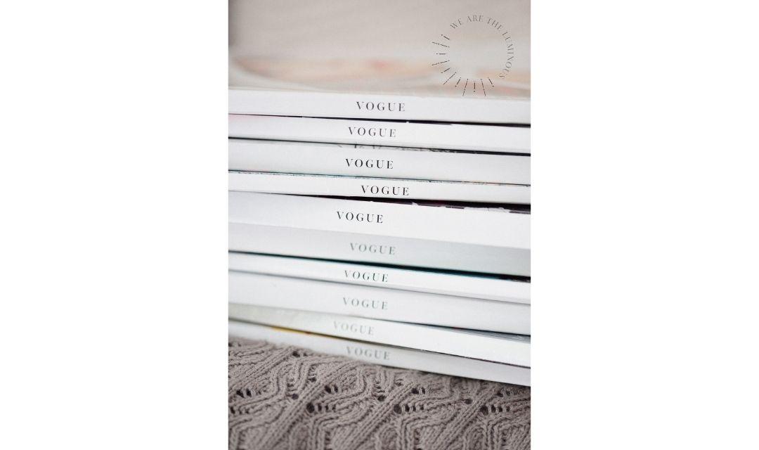 stack of Vogue magazines