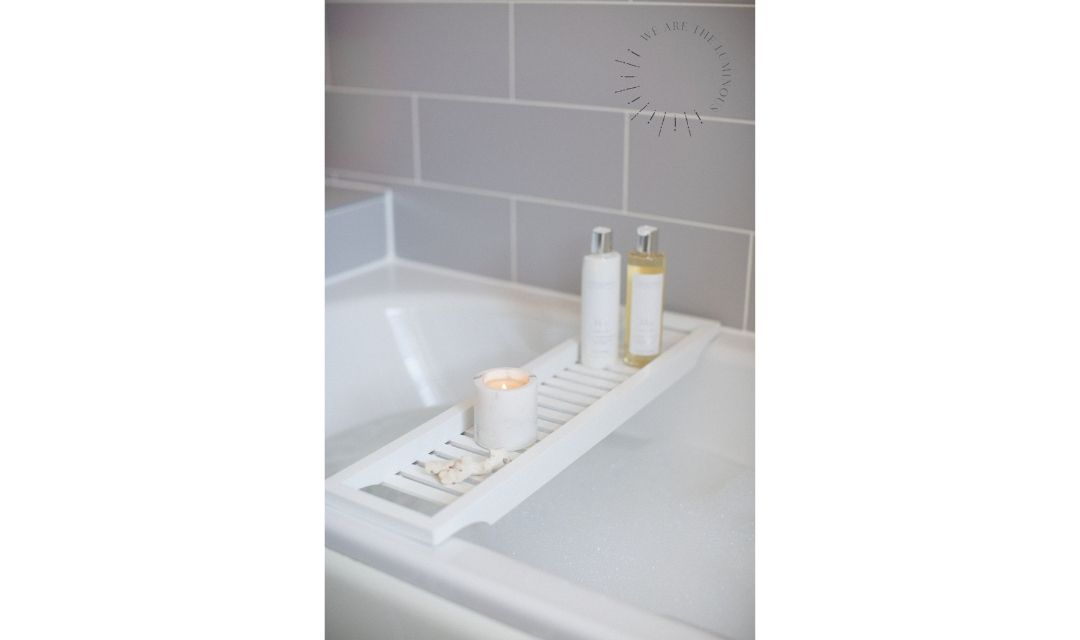scented candle with bubble bath