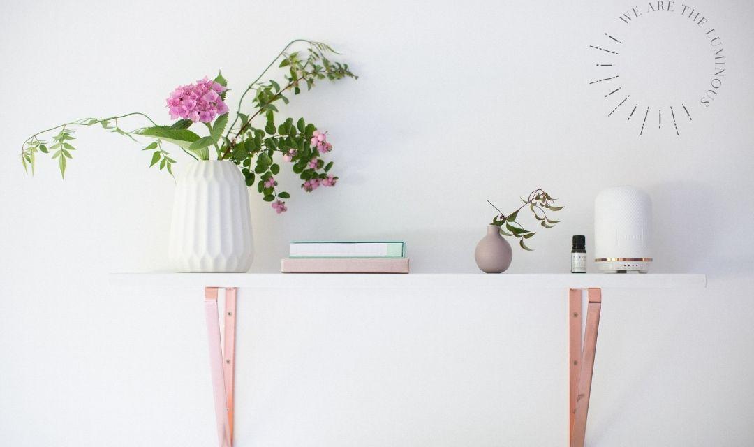 flowers on office shelf