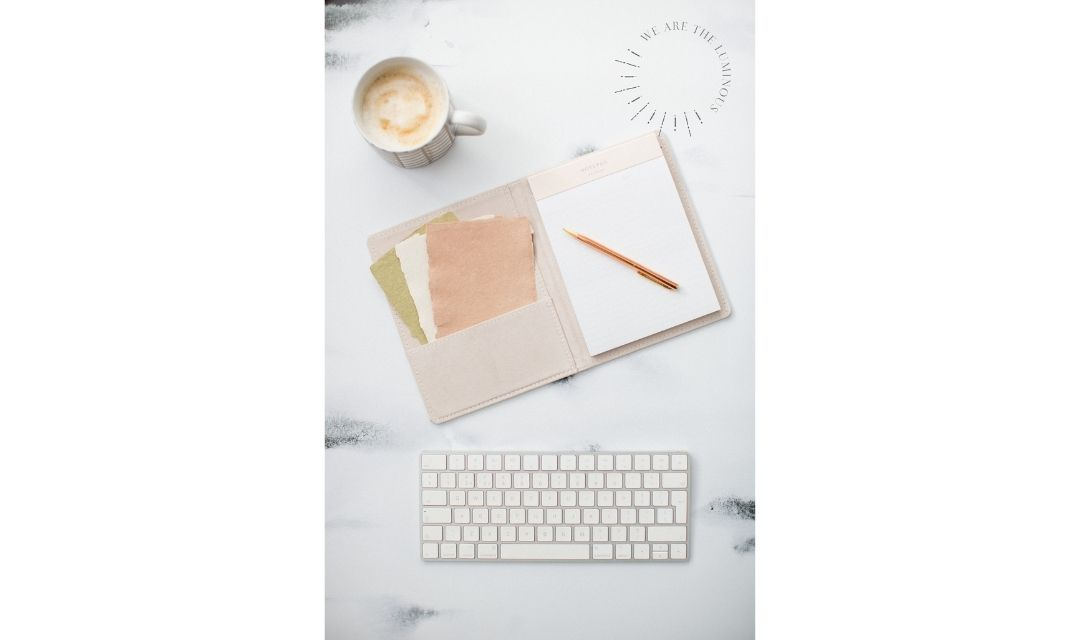 pink and peach office flat lay