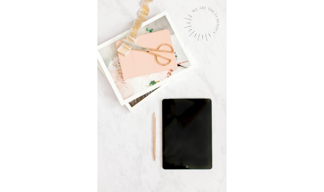 peach stationery with ipad