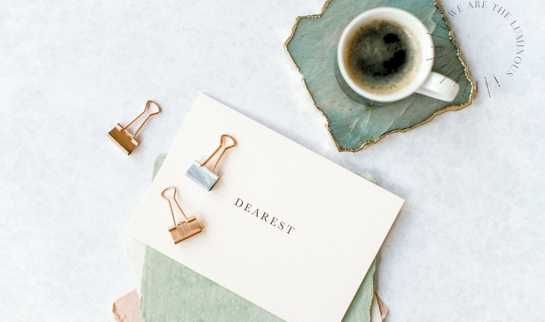 note card with coffee