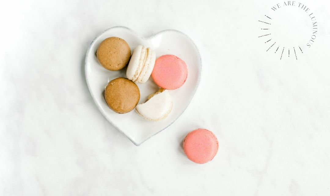 plate of macarons stock image