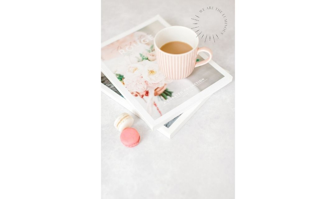 cup of tea on a magazine stock image