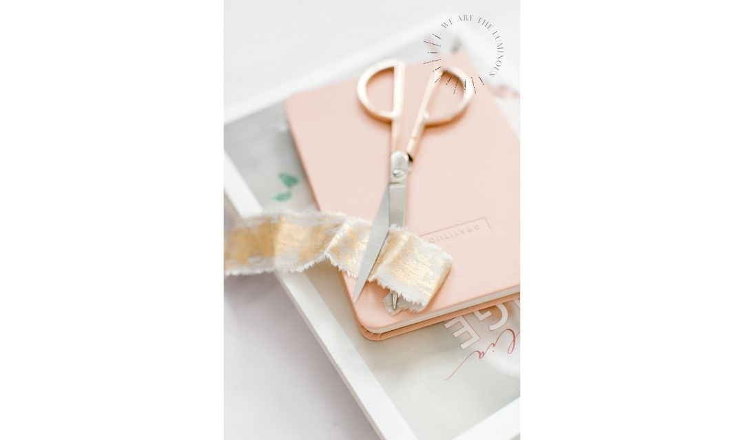 peach ribbon and scissors