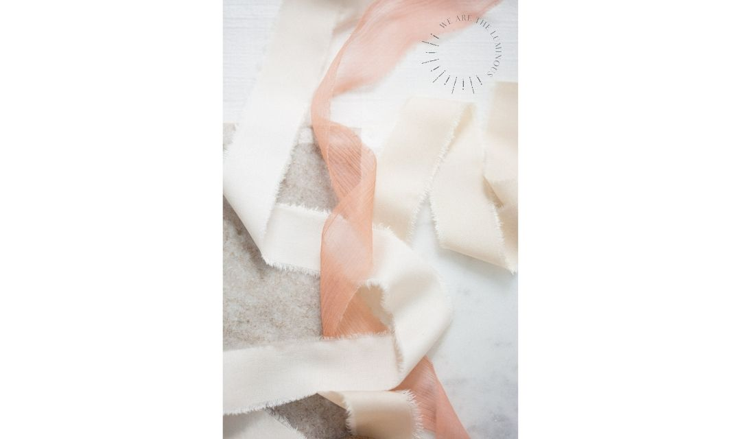 peach silk ribbons stock photography