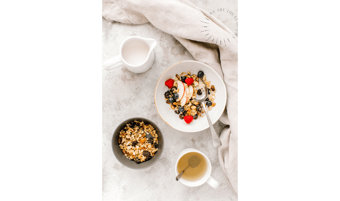 granola and fruit stock image