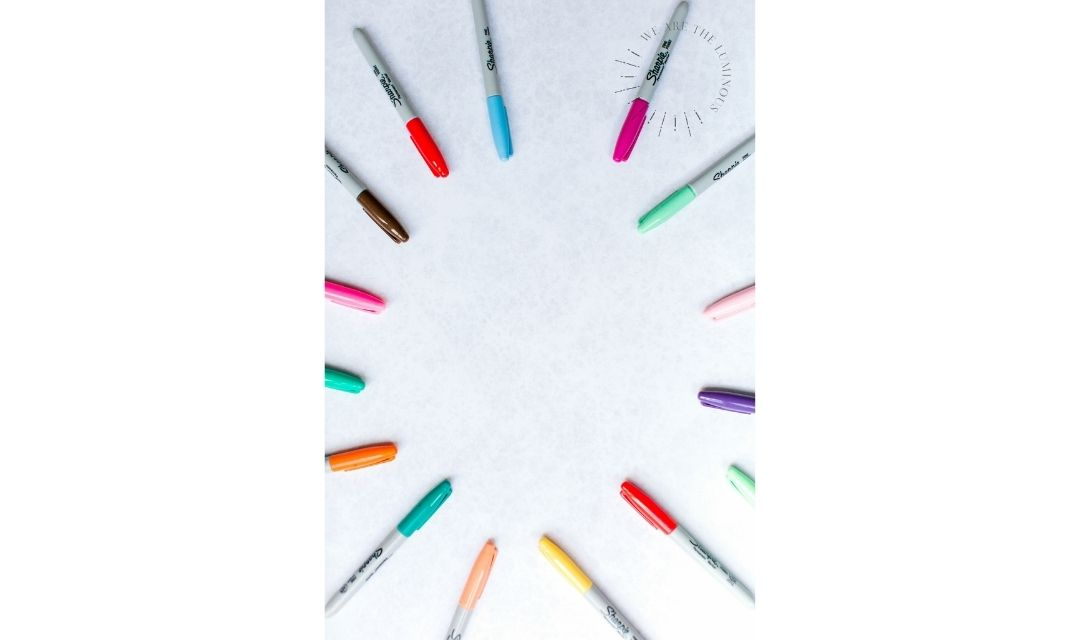 colourful pens stock photo