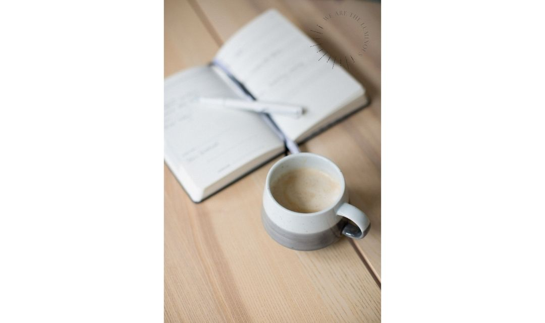 coffee and notepad stock photo