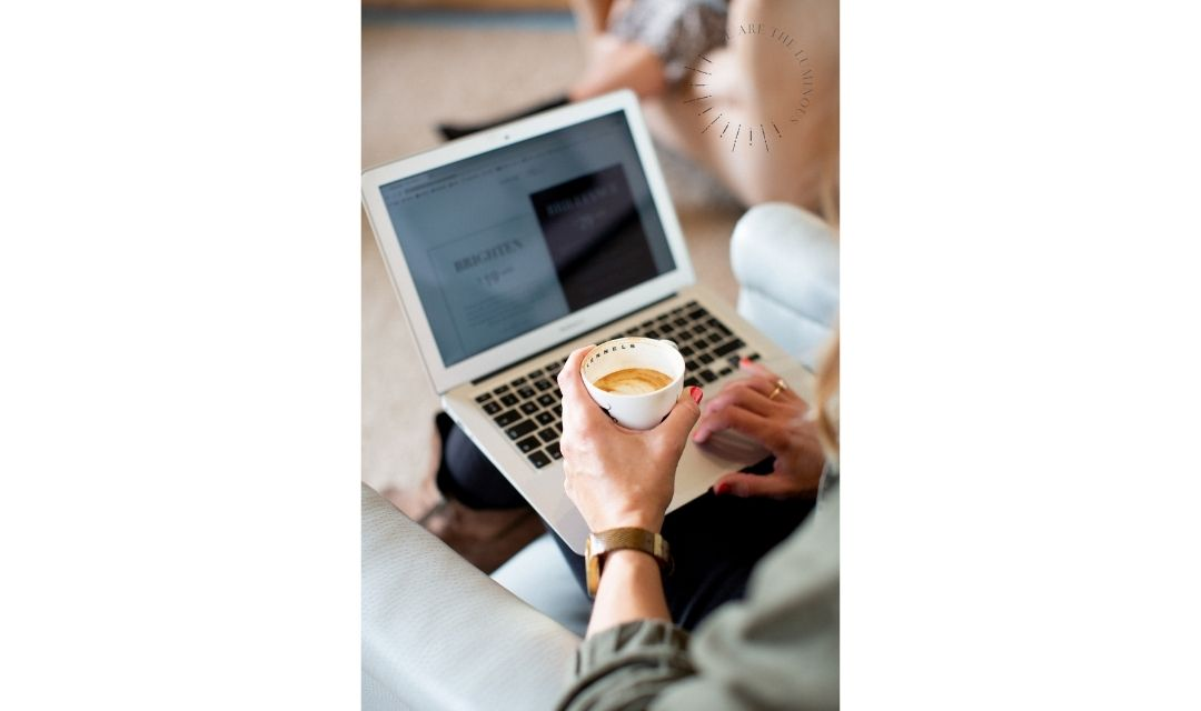 woman on laptop stock image