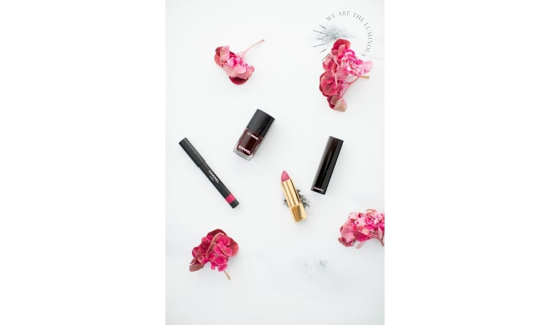 pink Chanel make up flat lay