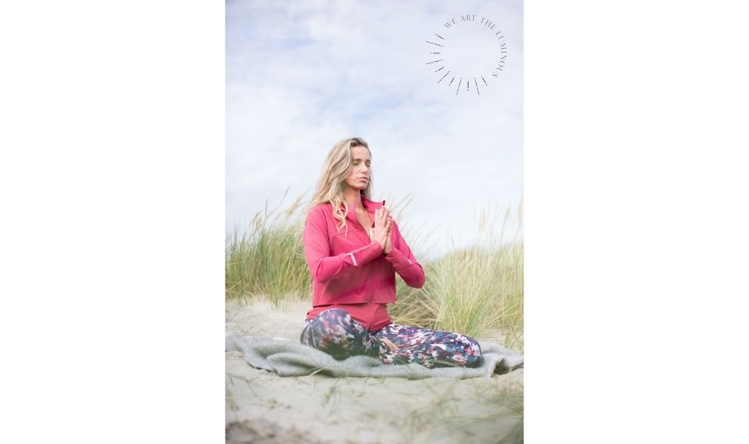 lady meditating stock image