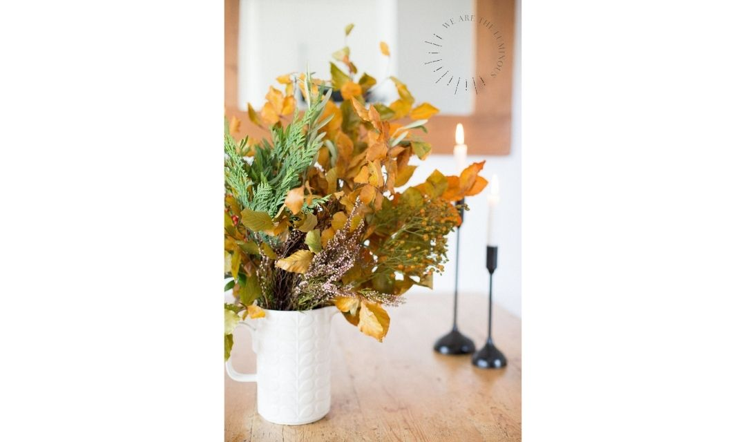 autumn fall flowers and foliage in vase