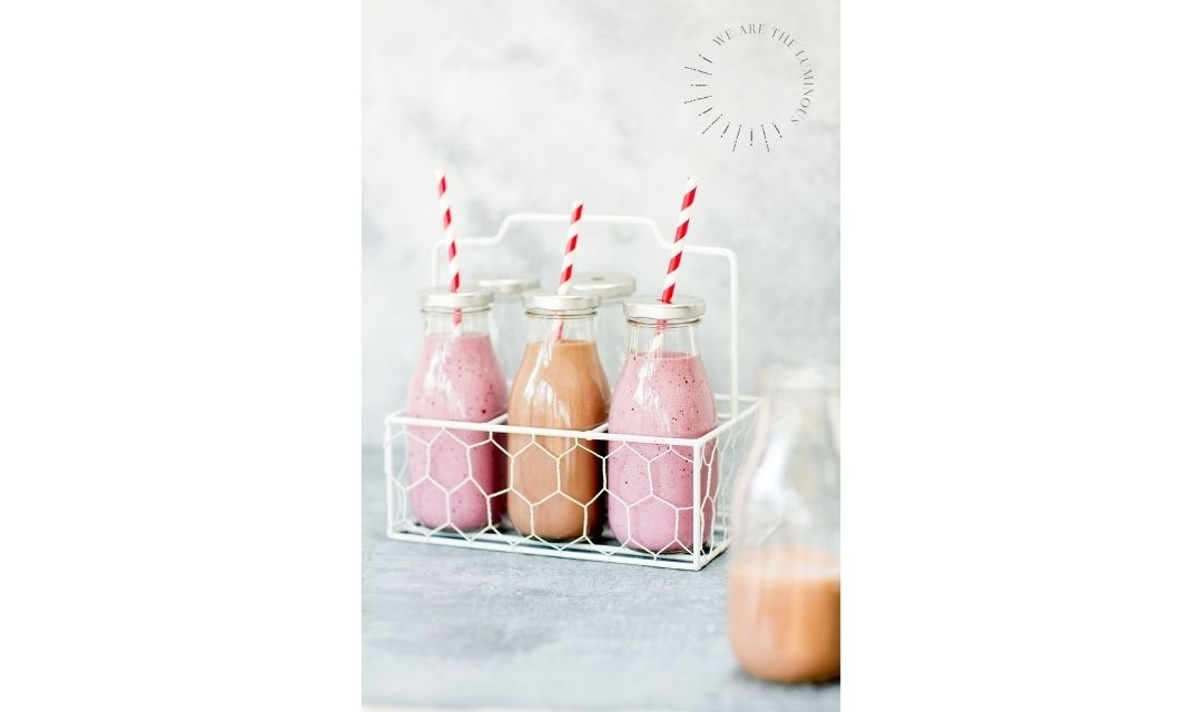 pink smoothies stock image
