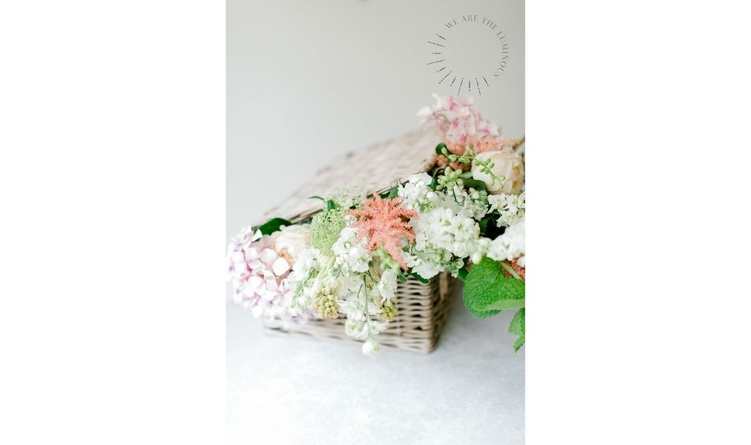 flowers in hamper