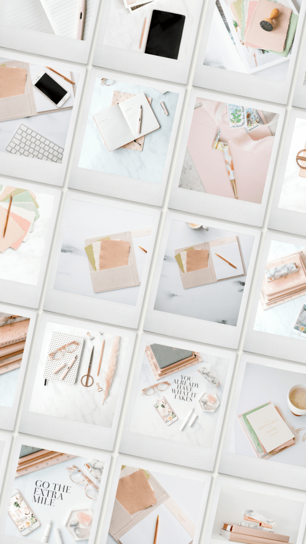 peach styled office stock photography