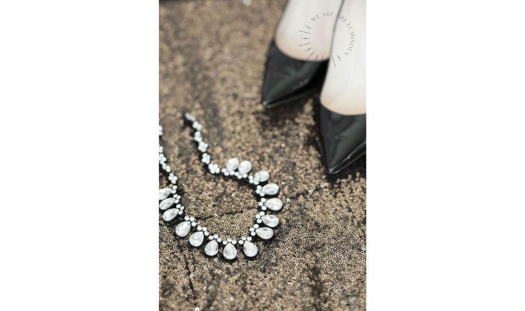 glittery dress with black heels