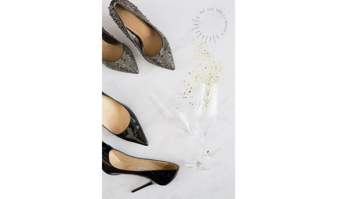 champagne glasses and high heels