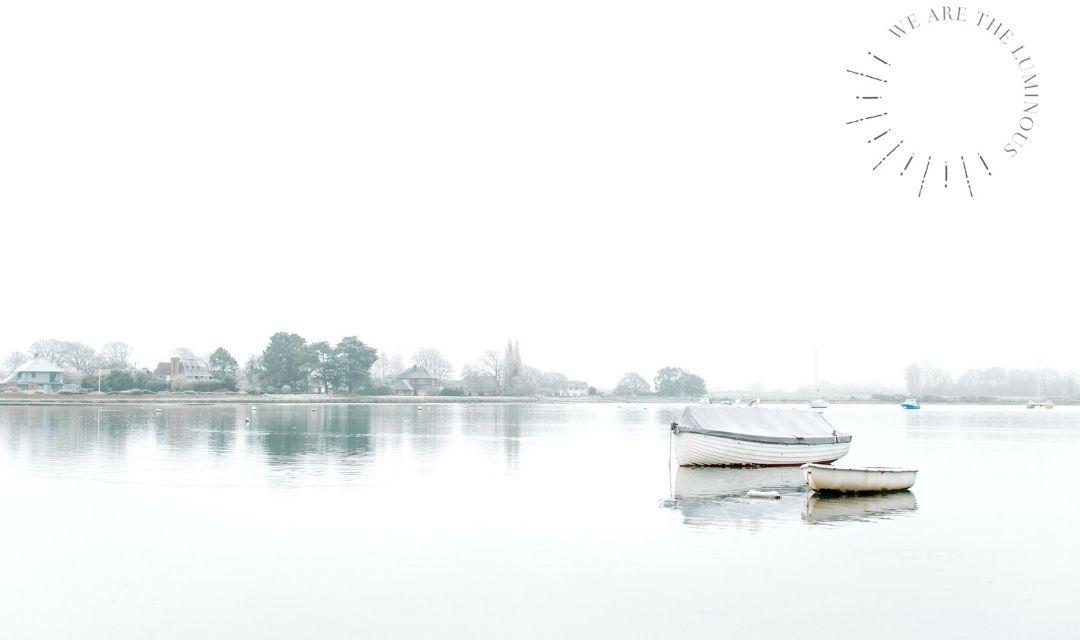 boats in misty water