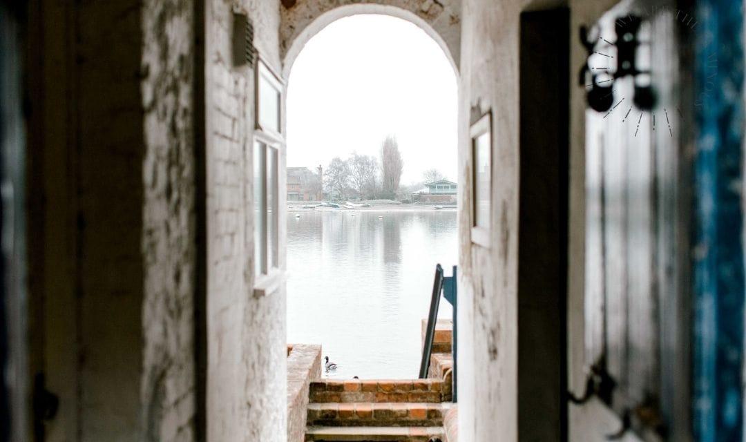 harbour viewed through a doorwar