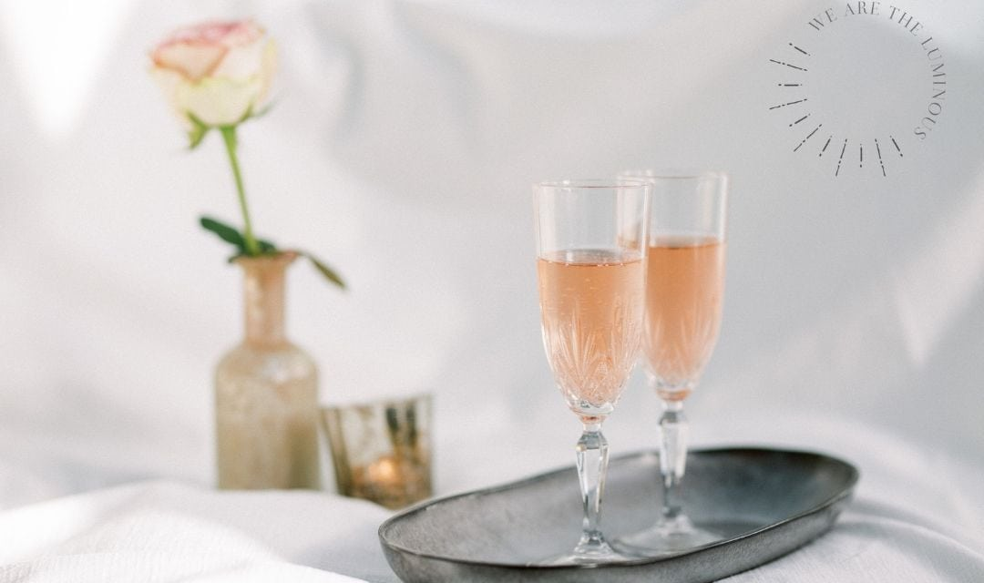 two glasses of pink champagne