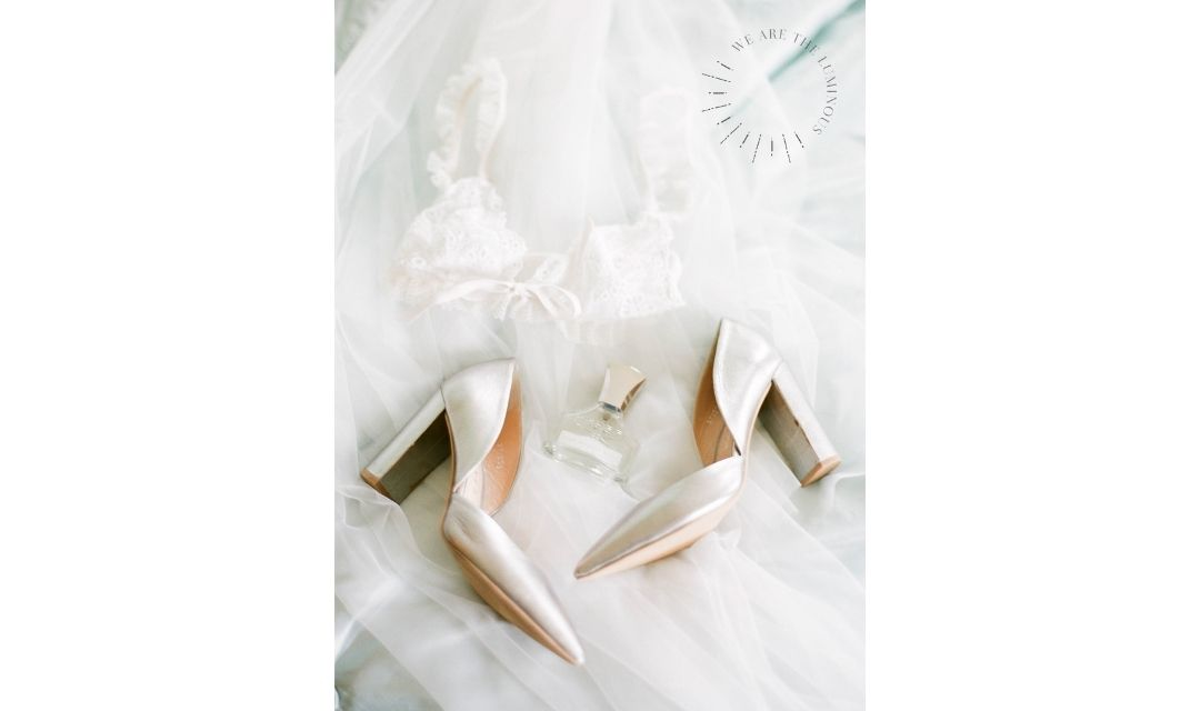 silver shoes and lingerie